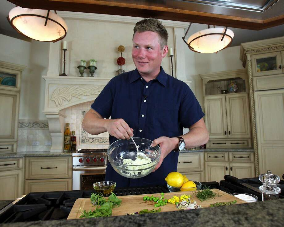 Thomas McNaughton, chef owner of Flour + Water in S.F., makes fresh ricotta for a salad. Photo: Santiago Mejia, The Chronicle