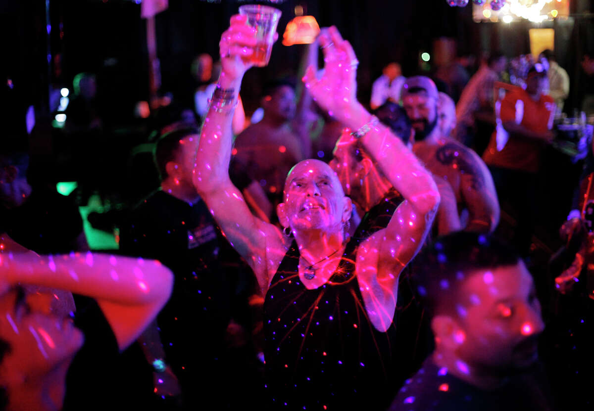 Michael Siever dances at the monthly Disco Daddy party in March at the S.F. Eagle bar.