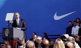 President Obama speak at Nike headquarters in Beaverton, Ore., Friday, making a trade-policy pitch as he struggles to win over Democrats for what could be the last major legislative push of his presidency.
