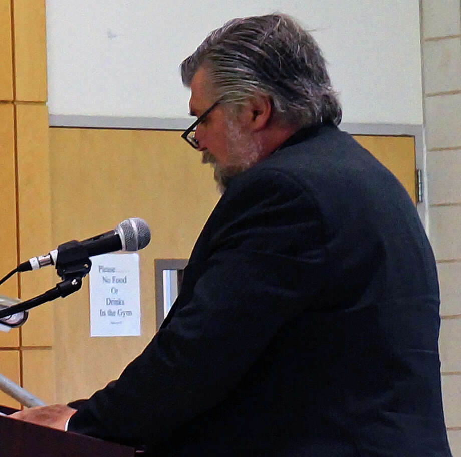 Attorney Frank Johnson presents an application for a dog day care facility to the Town Plan and Zoning Commission Tuesday. Photo: Genevieve Reilly / Fairfield Citizen
