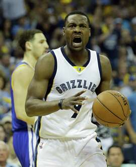 Memphis Grizzlies forward Tony Allen (9) reacts to play against the Golden State Warriors in the first half of Game 4 of a second-round NBA basketball Western Conference playoff series Monday, May 11, 2015, in Memphis, Tenn. (AP Photo/Mark Humphrey)