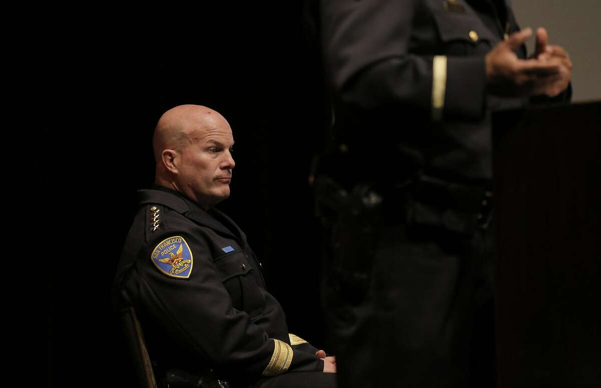 SFPD Chief Greg Suhr listens to a presentation at the Crisis Intervention Team Awards Ceremony at the Scottish Rites Temple in San Francisco, Calif., on Tuesday, May 12, 2015.