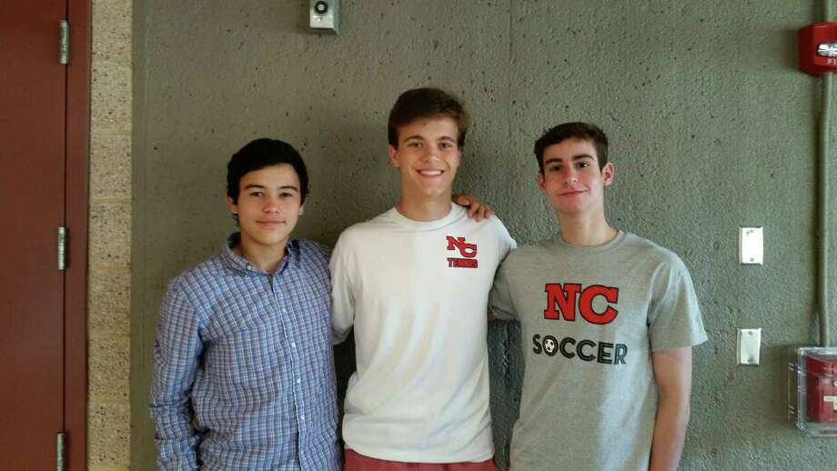 Three New Canaan High School students, from left, Charles Pitteway, Patrick Hompe and Robert Fusek recently earned national math honors. Photo: Contributed Photo / New Canaan News