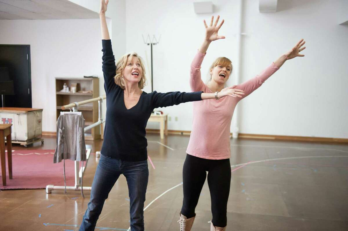 Anastasia Barzee (left) and Megan Sikora rehearse a scene from the Hartford Stage production of