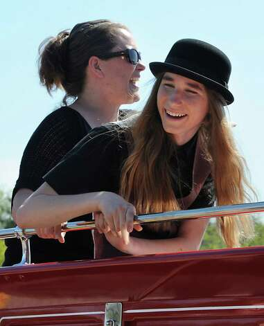 FultonvilleOs own Sawyer Fredericks and his mother Kirsten are pulled by horses in a parade heading to the Fonda Speedway on Wednesday, May 6, 2015 in Fonda, N.Y. The 16-year-old singer/songwriter is one of the final six contestants on NBCOs show The Voice. (Lori Van Buren / Times Union) Photo: Lori Van Buren / 00031668A