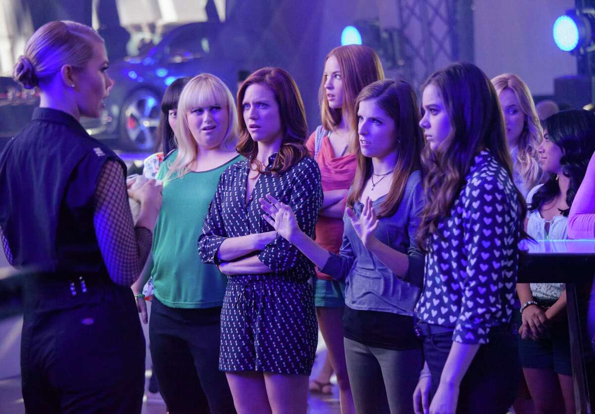 Birgitte Hjort Sorensen (left), Hana Mae Lee, Rebel Wilson, Brittany Snow, Alexis Knapp, Anna Kendrick, Hailee Steinfeld, Kelley Alice Jakle and Chrissie Fit in