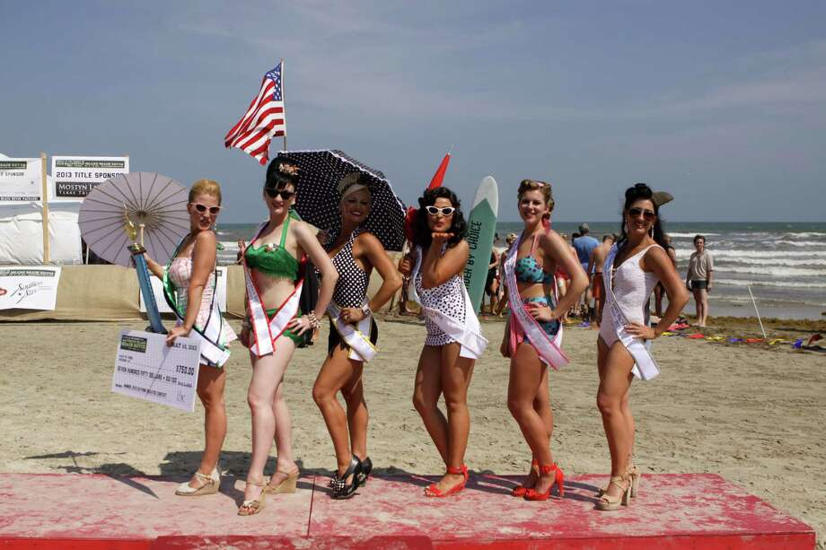 "Galveston Island Beach Revue -- This vintage-inspired event is the island's official kickoff of the summer season. In addition to live music, the two-day event will include the introduction of the Bathing Beauties, retro games and entertainment, a charcoal cooking contest and an outdoor screening of the 1965 movie ""Girl Happy"" starring Elvis Presley. Proceeds benefit Galveston's Family Service Center. When: 6-10 p.m. Friday and noon-10 p.m. Saturday Where: On the seawall across from Hotel Galvez, 2024 Seawall Blvd. in Galveston Information: galvestonbeachrevue.com The top five beauties in the 2013 revue. Photo: Steve Watkins / ONLINE_YES"