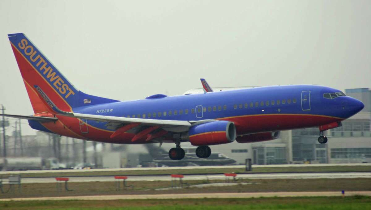 A Southwest Airlines Boeing 737 lands at Hobby Airport in March 2015.