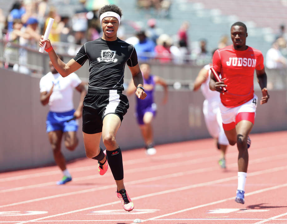 Steele's Andrew Hudson Steele's Andrew Hudson crosses the finish line ahead of Judson's Isaiah Gibson (right) in the 6A 800-meter relay during the Region IV-5A and Region IV-6A Track and Field meet at Alamo Stadium on Saturday, May 2, 2015. Steele won the event with a time of 1 minute, 26.98 seconds. MARVIN PFEIFFER/ mpfeiffer@express-news.net Photo: Photos By Marvin Pfeiffer / San Antonio Express-News / Express-News 2015