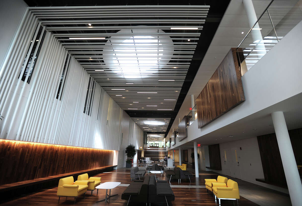 A long central atrium runs the length of the new Frank and Marisa Martire Business & Communications Center, home of the Jack Welch College of Business at Sacred Heart University in Fairfield, Conn. on Wednesday, May 13, 2015.