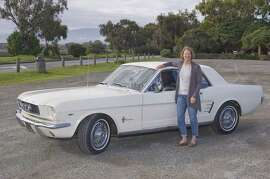 Photos of Sandra Pachaud and her 1966 Ford Mustang Coupe. Photographed on March 11, 2015 at the Palo Alto Baylands Reserve in Palo Alto, CA.