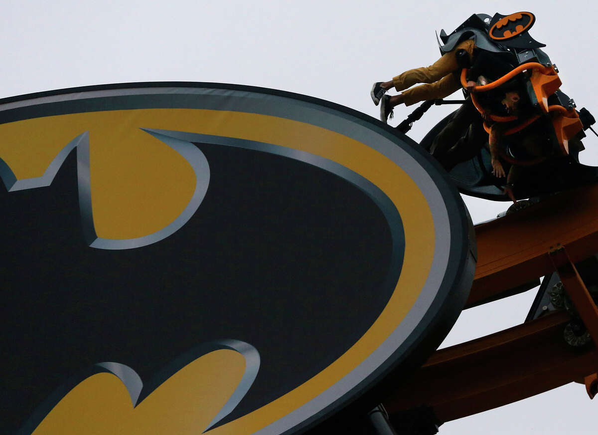 Batman: The Ride People ride on the new roller coaster at Six Flags Fiesta Texas called Batman: The Ride on May 13.