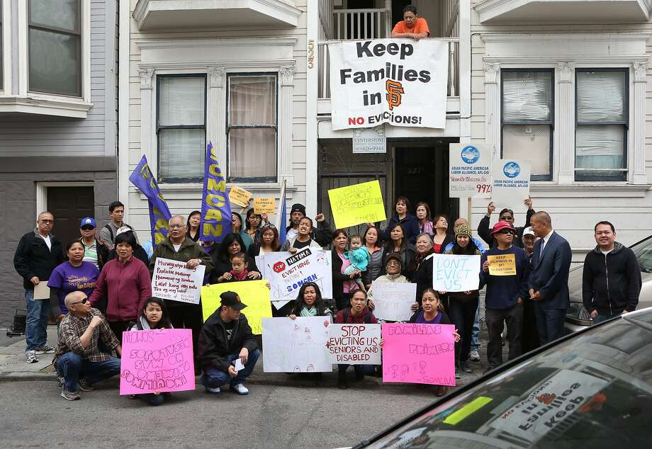Household Evictions have become increasingly common in the San Francisco Bay Area:  A protest at 523 Natoma where residents of a two unit building are being sued by a reality company, ultimately in hopes for an eviction in San Francisco, Calif., on Wednesday, May 13, 2015. Photo: Amy Osborne, The Chronicle