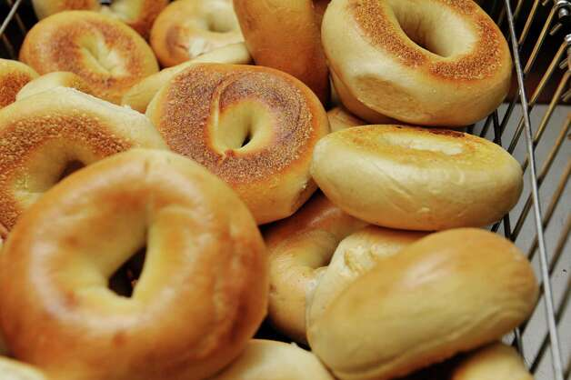 Plain bagels in a basket at Bagels and Bakes on Thursday, May 7, 2015, in Schenectady, N.Y.  (Paul Buckowski / Times Union) Photo: PAUL BUCKOWSKI / 00031740A