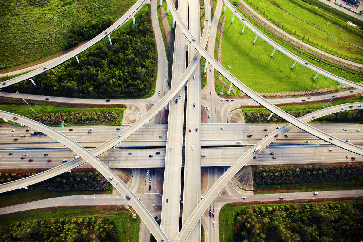Aerial view of Katy Freeway (Interstate 10) near the Sam Houston Tollway (Beltway 8). Sections of the freeway are being scheduled for re-striping to add on-ramp and off-ramp lanes. Click through to see photos on construction of the Katy Freeway.