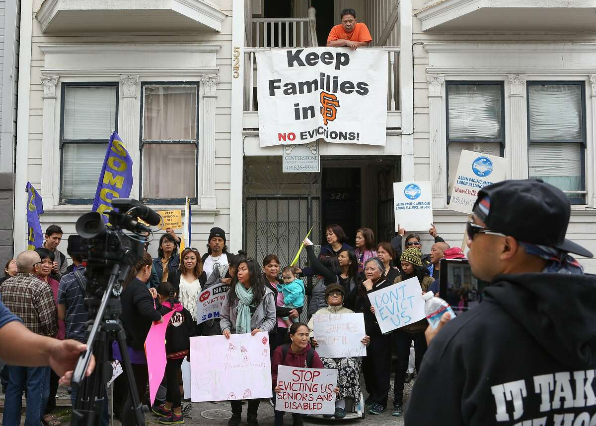 A protest at 523 Natoma where residents of a two unit building are being sued by a reality company, ultimately in hopes for an eviction in San Francisco, Calif., on Wednesday, May 13, 2015.