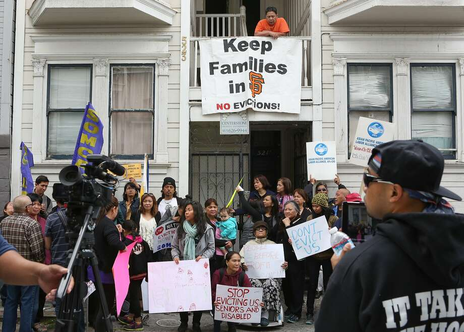 A protest at 523 Natoma where residents of a two unit building are being sued by a reality company, ultimately in hopes for an eviction in San Francisco, Calif., on Wednesday, May 13, 2015. Photo: Amy Osborne, The Chronicle