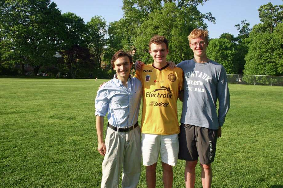 From left, Greenwich High junior Spencer Faragasso, Brunswick junior Christopher Peisch and Greenwich High junior Thomas Glover, members of the Youth Service in Action Fellowship, have helped organize Saturday's field day fundraiser for Nepal earthquake victims at Julian Curtiss School. Photo: Contributed Photo / Greenwich Time Contributed