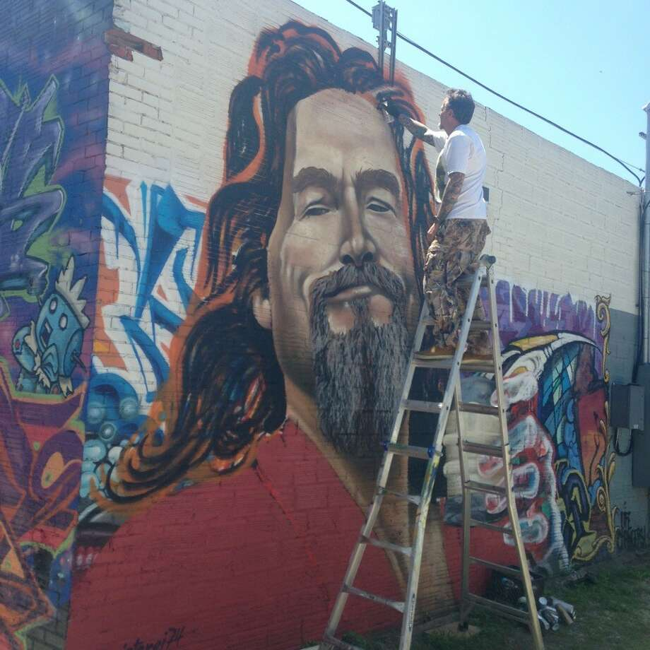 "Ramon Alvarez painted this piece of The Dude from ""The Big Lebowski"" this year during an event in downtown San Marcos. Photo: Courtesy Photo/Ramon Alvarez/Instagram"