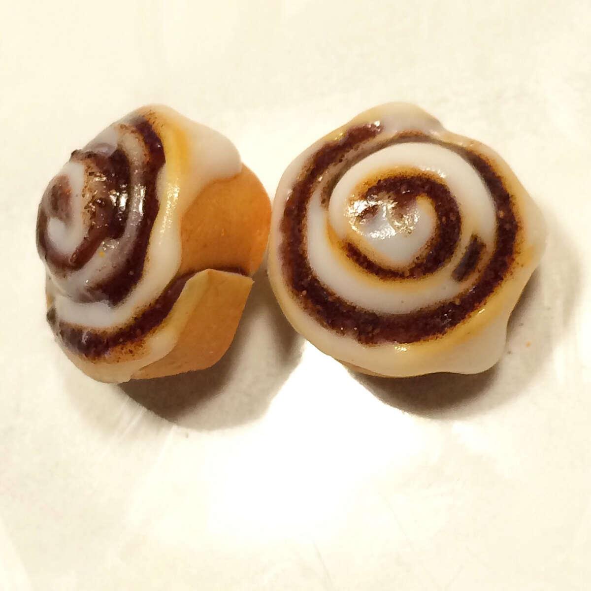 Cinnamon roll earrings.