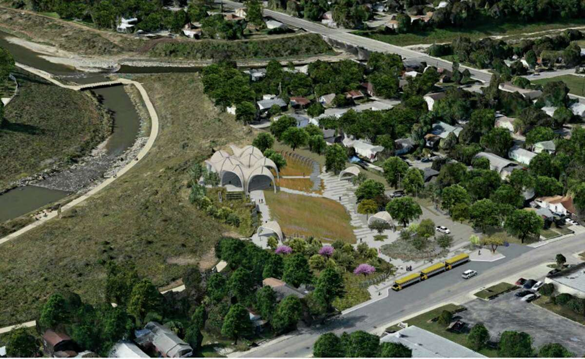 An aerial rendering of the proposed Confluence Park improvements.