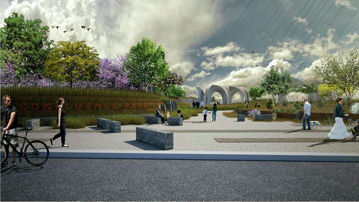 Rendering of the proposed Confluence Park entrance on Mitchell Street.