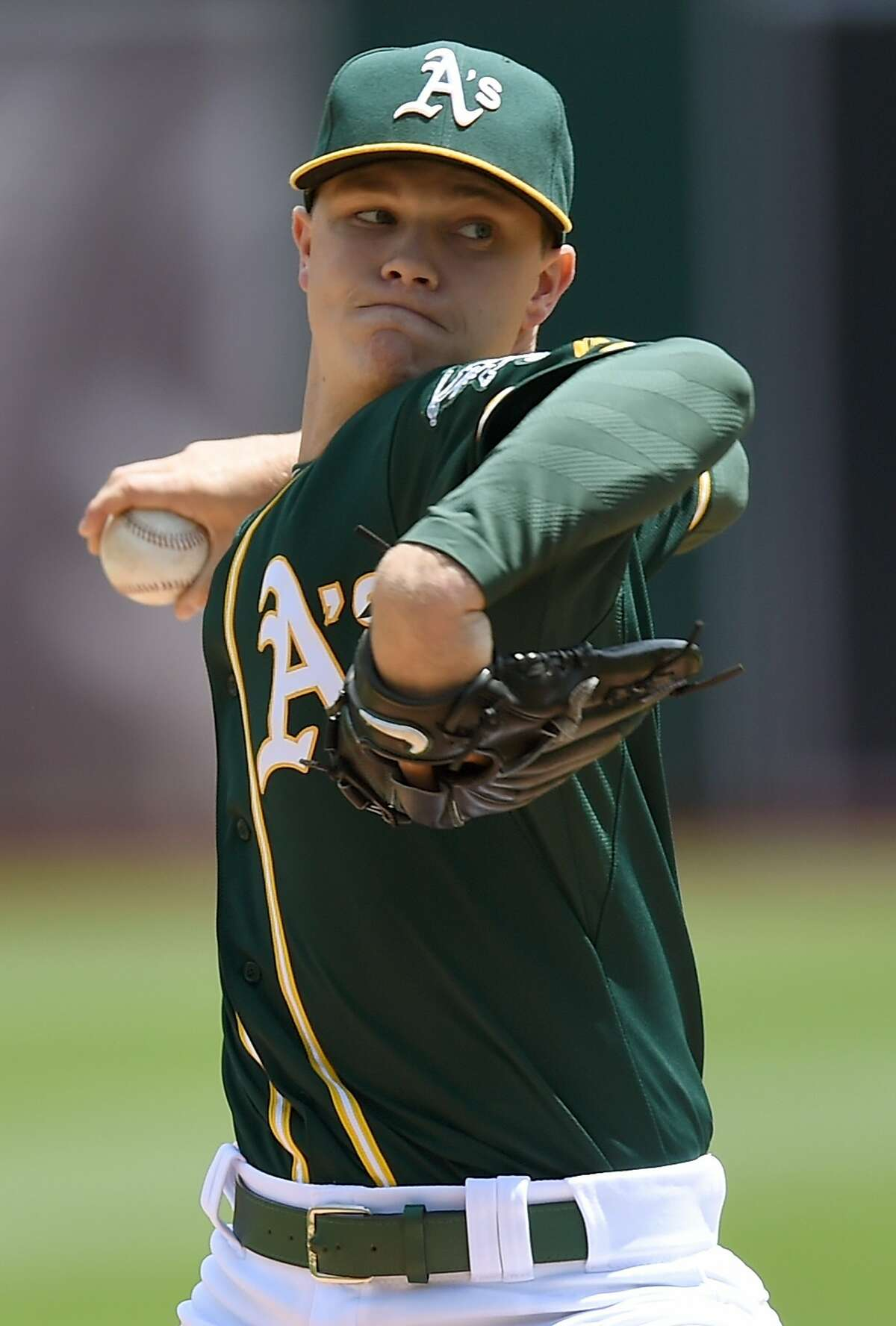 OAKLAND, CA - MAY 13: Sonny Gray #54 of the Oakland Athletics pitches against the Boston Red Sox in the top of the first inning at O.co Coliseum on May 13, 2015 in Oakland, California. (Photo by Thearon W. Henderson/Getty Images)