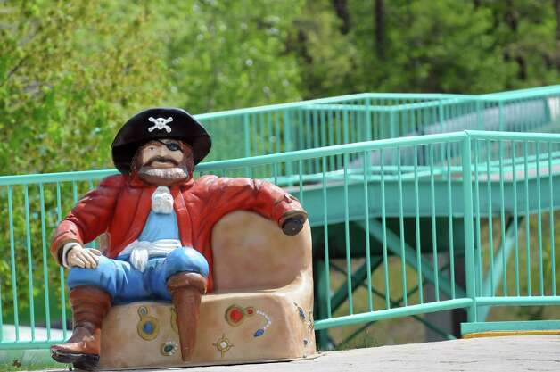 A pirate awaits a visitor for a selfie shot at the new Buccaneer Beach waterpark on Wednesday, May 13, 2015, at Great Escape in Queensbury, N.Y. (Cindy Schultz / Times Union) Photo: Cindy Schultz / 00031796A