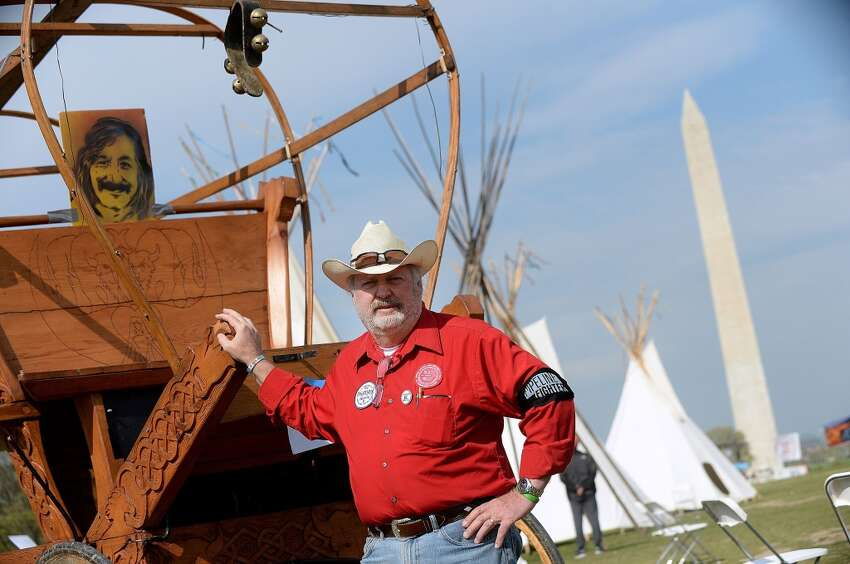 Tom Genung from Nebraska, and a member of the Cowboy and Indian Alliance sets up camp on the Mall in Washington, D.C. as a protest of the proposed construction of the Keystone XL pipeline, April 22, 2014. (Olivier Douliery/Abaca Press/MCT)