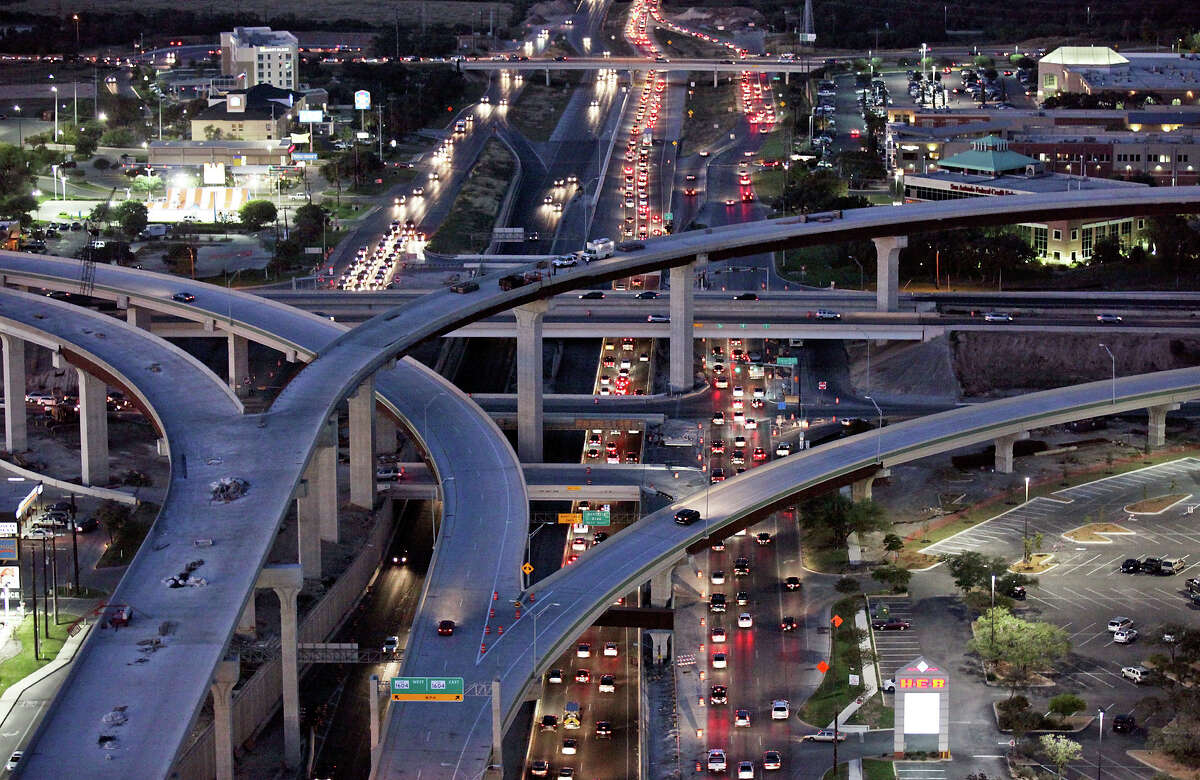 Motorists use the new northbound U.S. 281 to west and eastbound Loop 1604 interchange above traffic Nov. 8, 2012.