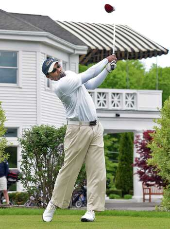 Jim Welch tees off in the annual Challenge Cup pros vs. amateurs team competition between the Northeastern New York PGA and the Capital Region Amateur Golf Association at the Edison Club Wednesday May 13, 2015 in Rexford, NY.  (John Carl D'Annibale / Times Union) Photo: John Carl D'Annibale / 00031818A
