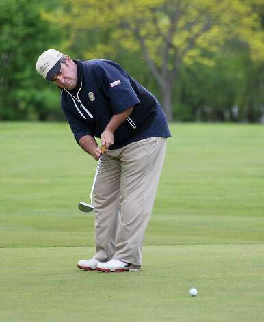 Noel Gebauer putts during the annual Challenge Cup pros vs. amateurs team competition between the Northeastern New York PGA and the Capital Region Amateur Golf Association at the Edison Club Wednesday May 13, 2015 in Rexford, NY.  (John Carl D'Annibale / Times Union) Photo: John Carl D'Annibale / 00031818A