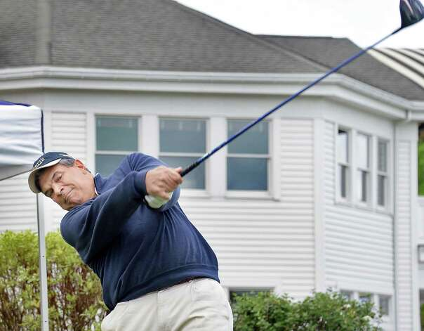 Dan Russo tees off in the annual Challenge Cup pros vs. amateurs team competition between the Northeastern New York PGA and the Capital Region Amateur Golf Association at the Edison Club Wednesday May 13, 2015 in Rexford, NY.  (John Carl D'Annibale / Times Union) Photo: John Carl D'Annibale / 00031818A