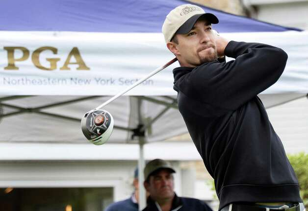 Brad Gardner tees off in the annual Challenge Cup pros vs. amateurs team competition between the Northeastern New York PGA and the Capital Region Amateur Golf Association at the Edison Club Wednesday May 13, 2015 in Rexford, NY.  (John Carl D'Annibale / Times Union) Photo: John Carl D'Annibale / 00031818A