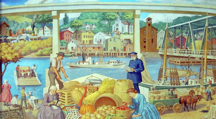 The mural was painted by the late Robert L. Lambdin, focusing on various aspects of Westport's history, for the-then Westport Bank & Trust Co. on Post Road East. Photo: Contributed Photo / Connecticut Post Contributed