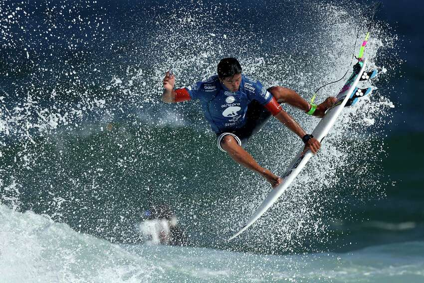 Miguel Pupo of Brazil surfs during Round 1 Heats at the Oi Rio Pro on May 12, 2015 in Rio de Janeiro, Brazil.