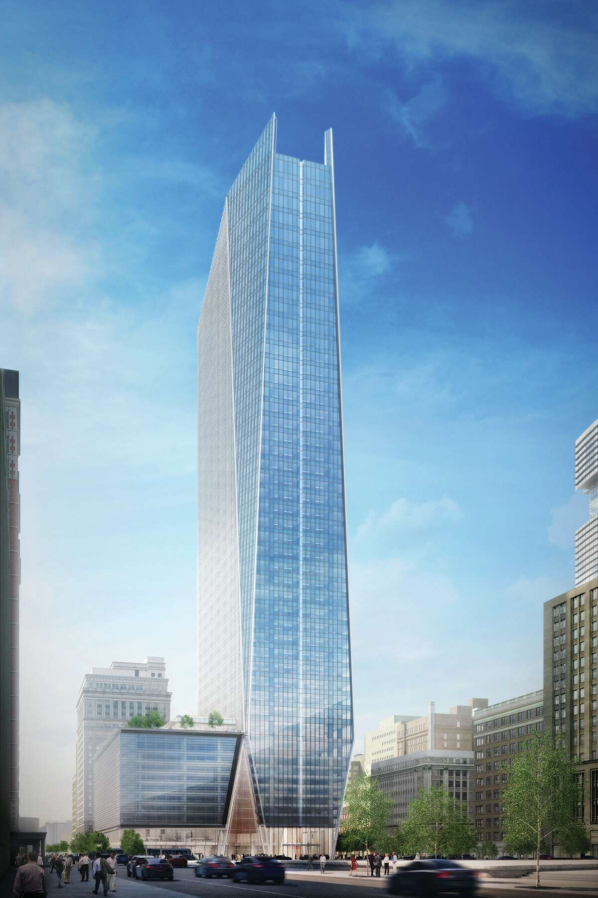 This rendering shows the plans for the tower at 609 Main at Texas.
