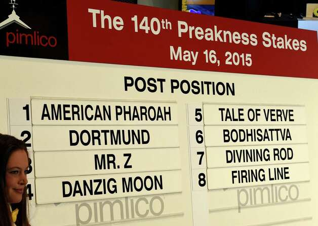The Post Positions are set at Pimlico Race Course Wednesday afternoon May 13, 2015 in Baltimore, MD for Saturday's 140th Preakness Stakes.   (Skip Dickstein/Times Union) Photo: SKIP DICKSTEIN