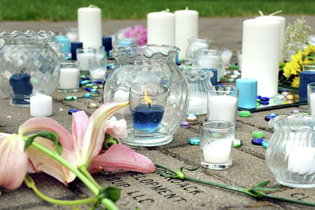 A makeshift memorial for Carly Sinnott, 17, a high school junior, on Wednesday, May 13, 2015, at Mekeel Christian Academy in Scotia, N.Y. She fell while hiking with friends on Tuesday at the Plotter Kill Nature Preserve. (Cindy Schultz / Times Union)