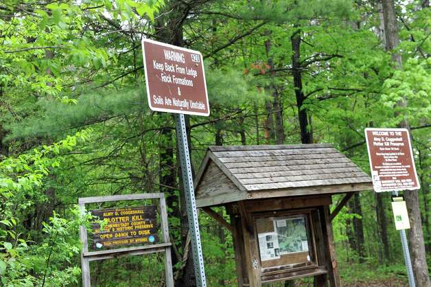 The trailhead on Wednesday, May 13, 2015, at Plotter Kill Nature Preserve in Rotterdam, N.Y.  Carly Sinnott, 17, died after she fell while hiking with friends on Tuesday. (Cindy Schultz / Times Union) Photo: Cindy Schultz / 00031832A