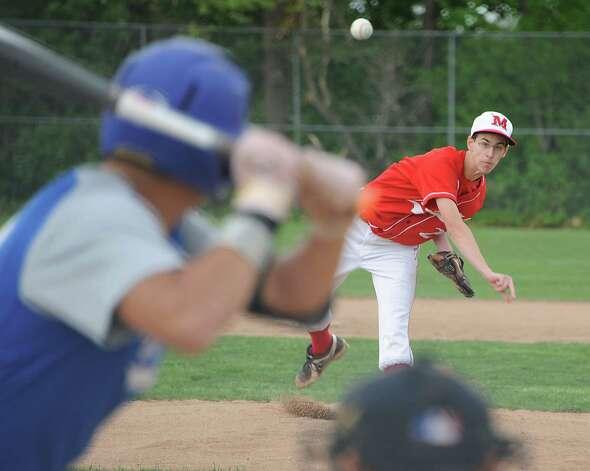 Mechanicville pitcher Sean Jones throws the ball during a baseball game against Hoosic Valley on Tuesday, May 12, 2015 in Mechanicville, N.Y. (Lori Van Buren / Times Union) Photo: Lori Van Buren / 00031789A