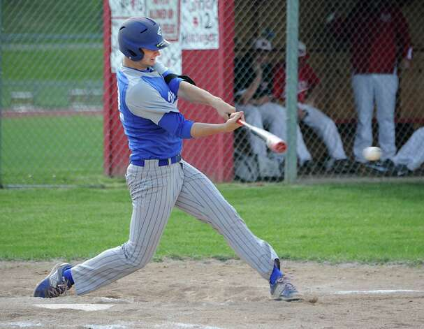 Hoosic Valley's John Rooney hits a single during a baseball game against Mechanicville on Tuesday, May 12, 2015 in Mechanicville, N.Y. (Lori Van Buren / Times Union) Photo: Lori Van Buren / 00031789A