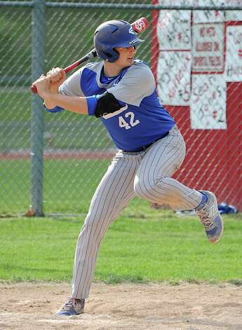 Hoosic Valley's John Rooney gets ready to hit during a baseball game against Mechanicville on Tuesday, May 12, 2015 in Mechanicville, N.Y. (Lori Van Buren / Times Union) Photo: Lori Van Buren / 00031789A