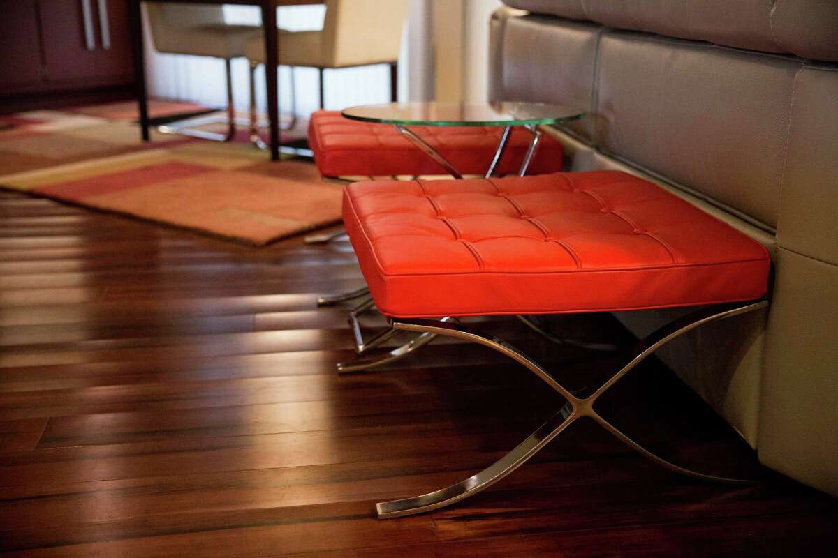 Red ottomans at the home of Gerry Garcia and Jack Elsbree.