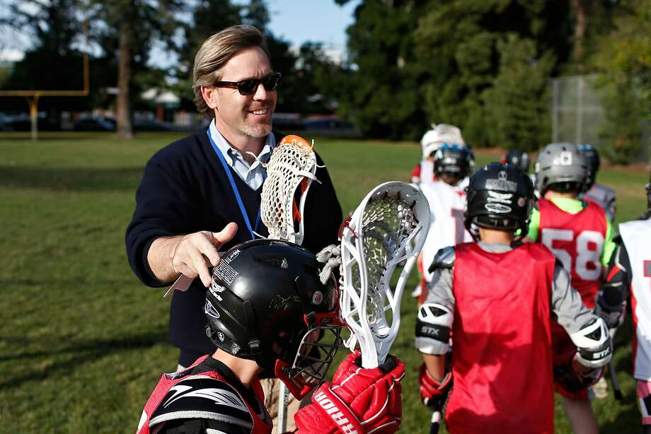 Bradford Stroh, CEO of Bills.com and coach of his son's lacrosse team, leads practice on Wednesday, May 13, 2015 in Redwood City, Calif. Photo: Beck Diefenbach, Special To The Chronicle