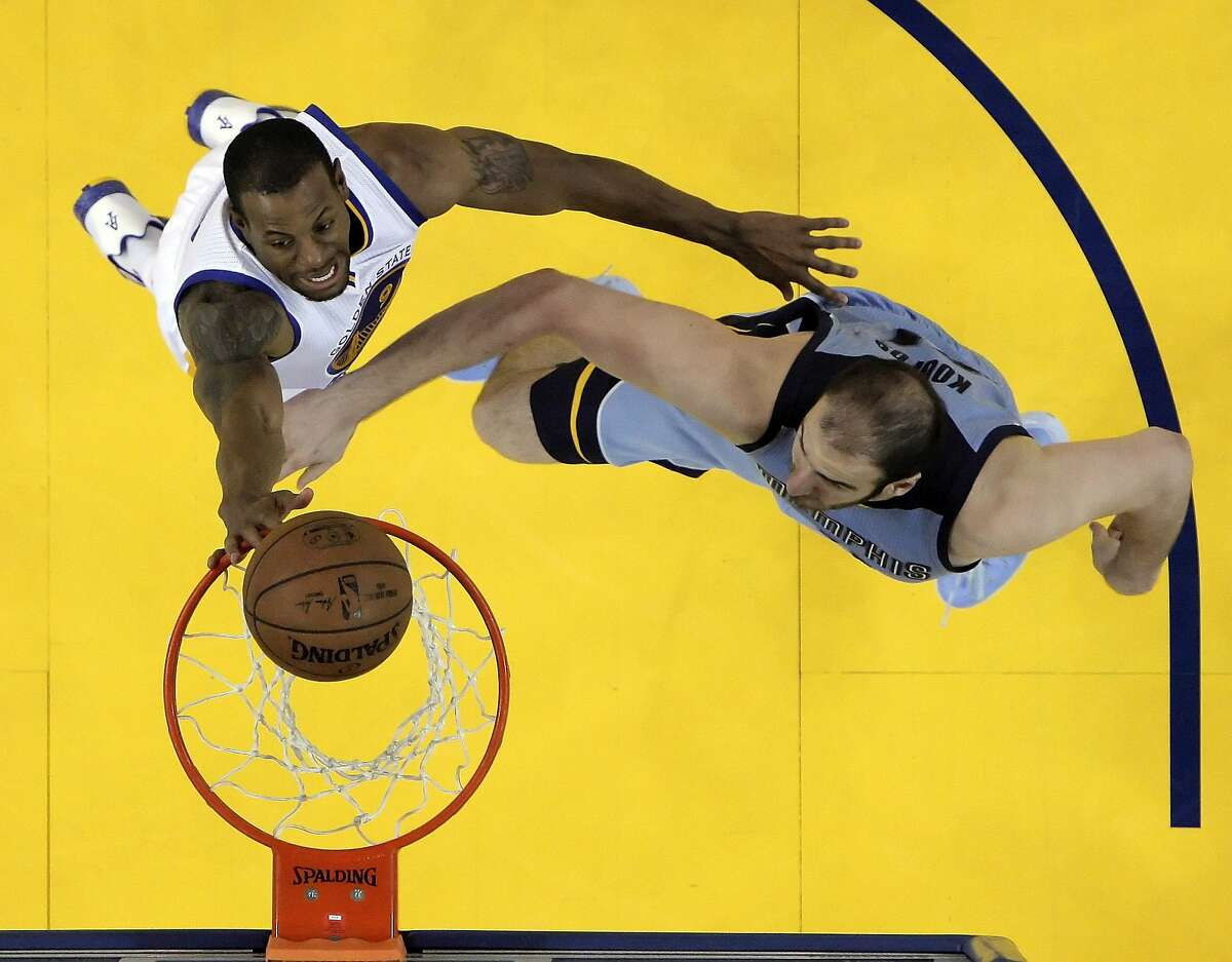 Andre Iguodala (9) shoots over Kosta Koufos (41) in the second half. The Golden State Warriors played the Memphis Grizzlies in Game 5 of the Western Conference Semifinals at Oracle Arena in Oakland, Calif., on Wednesday, May 13, 2015. The Warriors defeated the Grizzlies 98-78.
