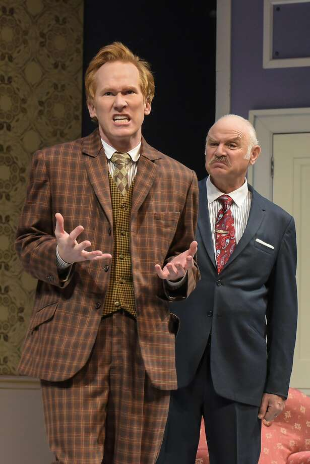 """Francis Henshall (Dan Donohue, left) runs into some problems with gangster Charlie """"the Duck"""" Clench (Robert Sicular) in """"One Man, Two Guvnors"""" at Berkeley Rep. Photo: Mellopix.com"""