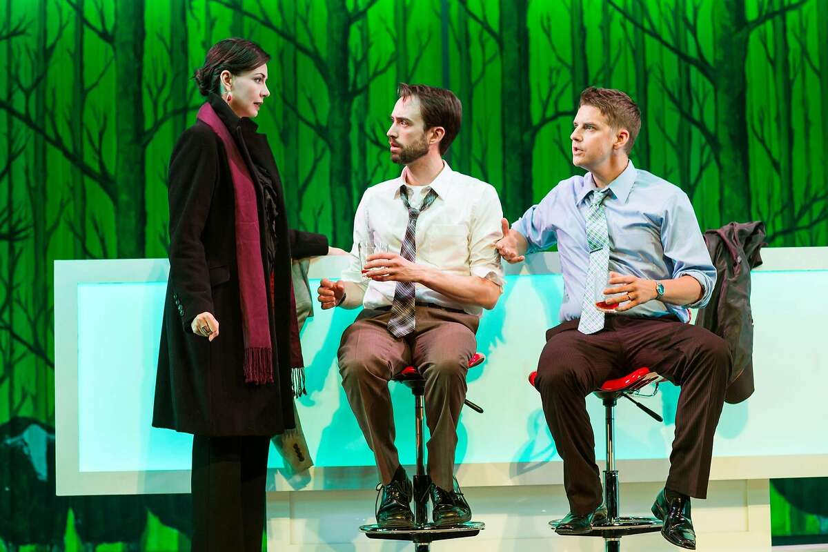 """Kelly (Liz Sklar, left) delivers news of a change of plans to Joe (Kyle Cameron) and Dennis (Patrick Russell) in """"Trouble Cometh"""" at San Francisco Playhouse."""