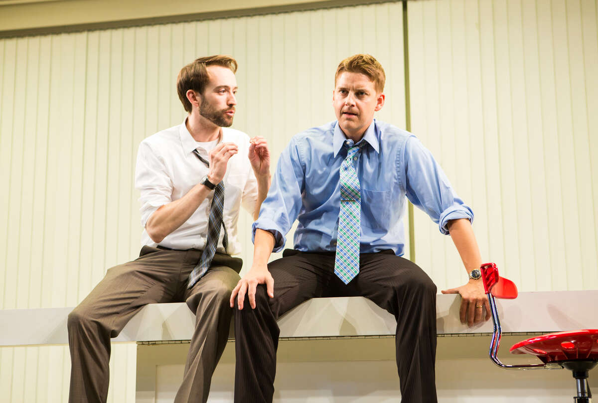 """Joe (Kyle Cameron, left) and his boss, Dennis (Patrick Rus sell), try to come up with a reality show in """"Trouble Cometh."""""""