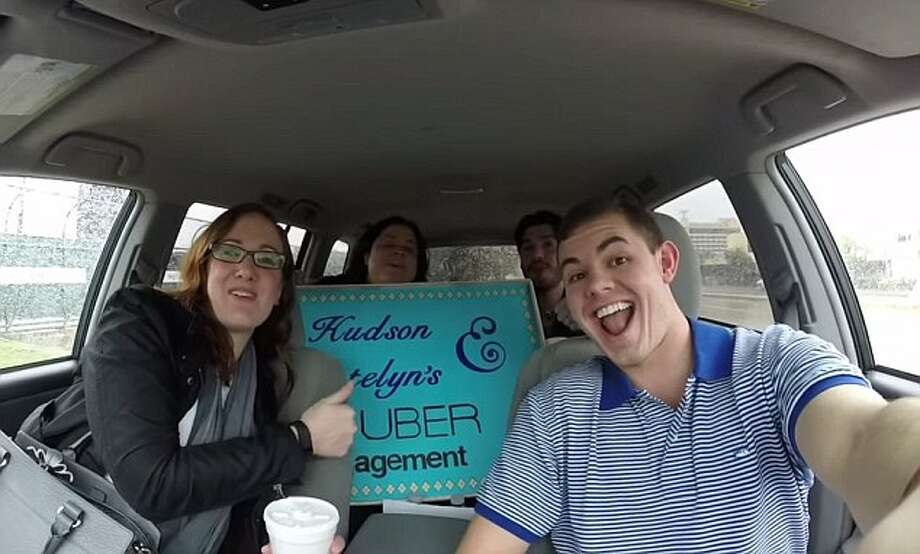 Hudson Hoyle, of Houston, took a part-time job as an Uber driver to save money to buy an engagement ring for his fiancee, Katelyn Kainer of Houston. He proposed April 18, 2015. Photo: Hudson Hoyle